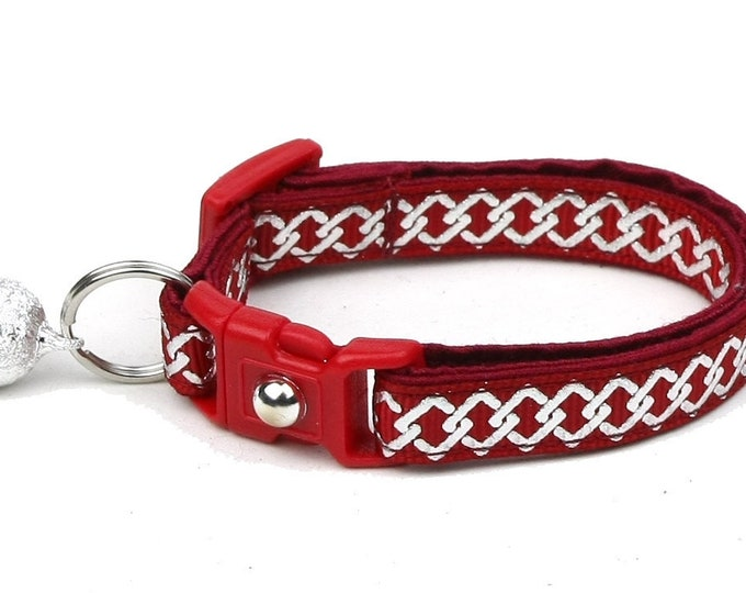 Celtic Knot Cat Collar - Silver Knots on Red - Small Cat / Kitten or Large Cat Collar