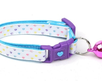 Heart Cat Collar - Mini Pastel Hearts on White - Kitten or Large Size B82D76