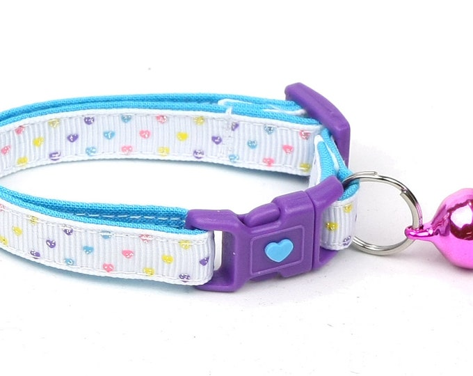 Heart Cat Collar - Mini Pastel Hearts on White - Kitten or Large Size