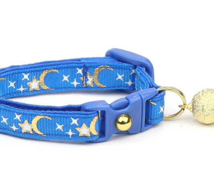 Moon Cat Collar - Gold Moons and Stars on Royal Blue - Breakaway Cat Collar - Kitten or Large size - Glow in the Dark