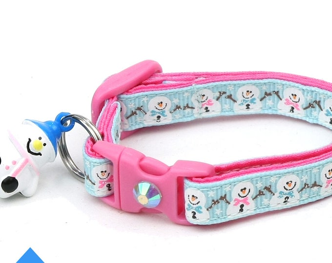 Snow Cat Collar - Jolly Snowmen on Blue - Small Cat / Kitten or Large(standard) Size Collar