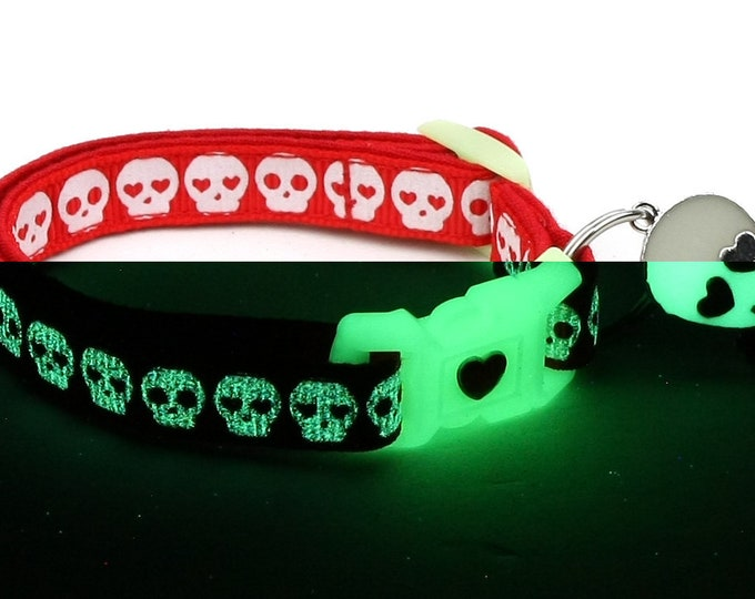 Skull Cat Collar - Glowing Skulls on Red - Small Cat / Kitten or Large Cat Collar - Glow in the Dark