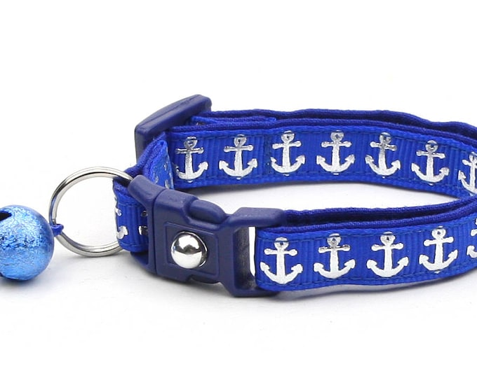 Nautical Cat Collar - Shiny Silver Anchors on Royal Blue - Kitten or Large Size
