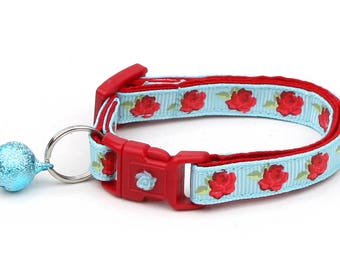Floral Cat Collar - Red Tea Party Roses on Blue - Small Cat / Kitten Size or Large Size B94D55