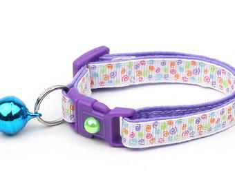Rainbow Cat Collar - Mini Rainbow Squiggles - Rainbow Swirls - Doodles - Kitten or Large Size B96D91