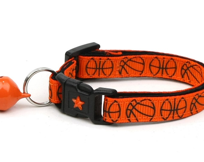 Basketball Cat Collar - Basketballs on Orange - Small Cat / Kitten Size or Large Size B4D107