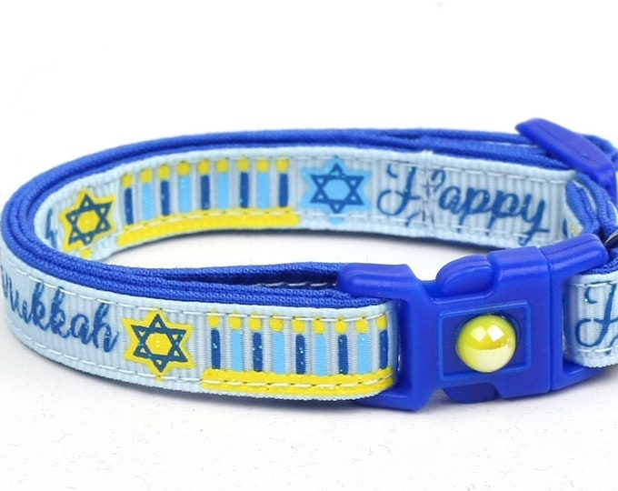 Hanukkah Cat Collar - Happy Hanukkah on Light Blue - Small Cat / Kitten Size or Large Size