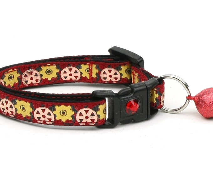 Steampunk Cat Collar - Gears on Red - Small Cat / Kitten Size or Large Size