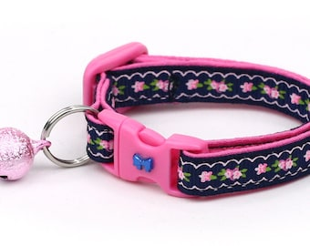 Floral Cat Collar - Pink Flowers and Lace on Navy Blue - Kitten or Large Size D54