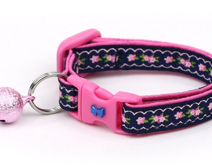Floral Cat Collar - Pink Flowers and Lace on Navy Blue - Kitten or Large Size B19D54