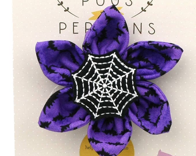 Halloween Dog Bow - Spiderweb on Purple Bats - Flower - Collar Blossom - Medium Size
