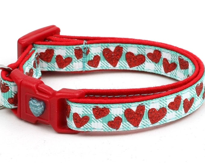 Valentines Day Cat Collar - Red Glitter Hearts on Aqua - Kitten or Large Size B61D72