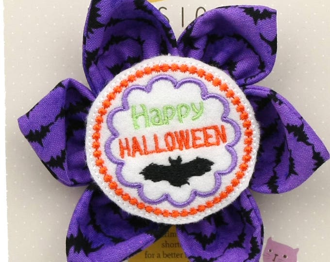 Halloween Dog Bow - Happy Halloween on Purple Bats - Flower - Collar Blossom - Large Size