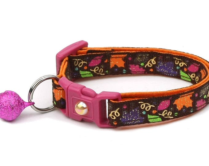 Fall Cat Collar - Fancy Fall Leaves on Brown - Small Cat/ Kitten Size or Large Size Collar