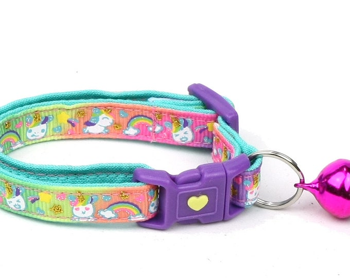 Unicorn Cat Collar - Cute Unicorns on Rainbow -Small Cat / Kitten Size or  Large Size Collar