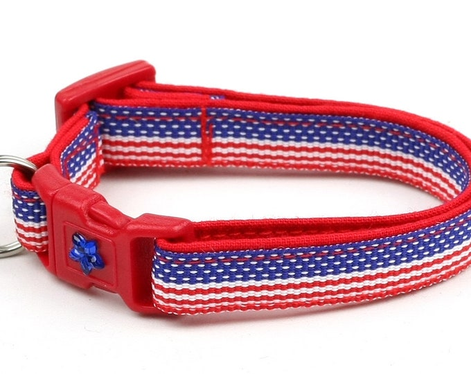 American Flag Cat Collar - Flag Stripes - Kitten or Large Size B23