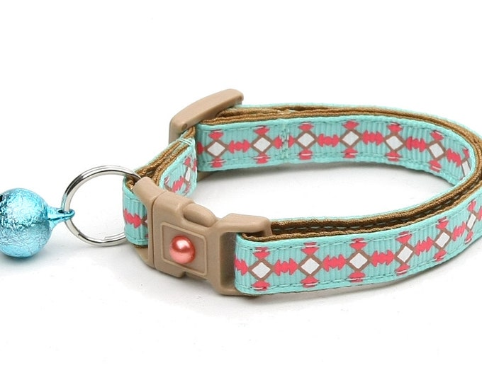 Tribal Cat Collar - Southwest Stripe on Blue - Small Cat / Kitten Size or Large Size