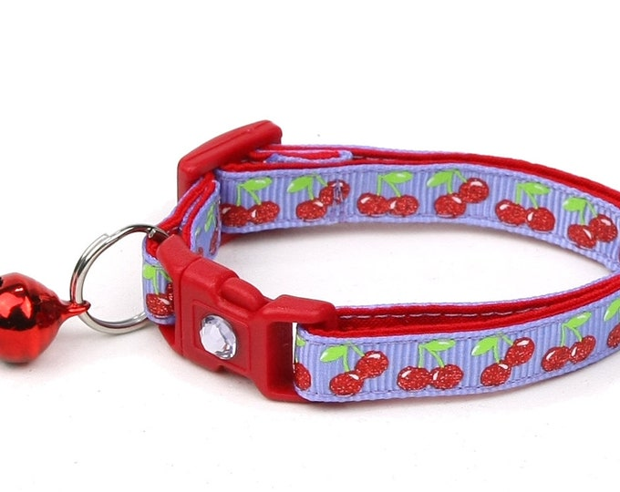 Cherry Cat Collar - Cherries on Purple - Small Cat / Kitten Size or Large Size