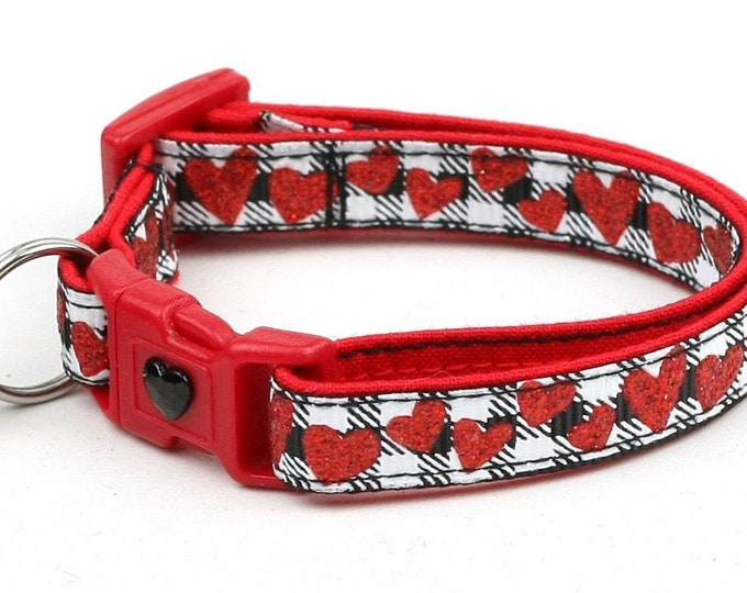 Valentines Day Cat Collar - Red Glitter Hearts on Black - Kitten or Large Size