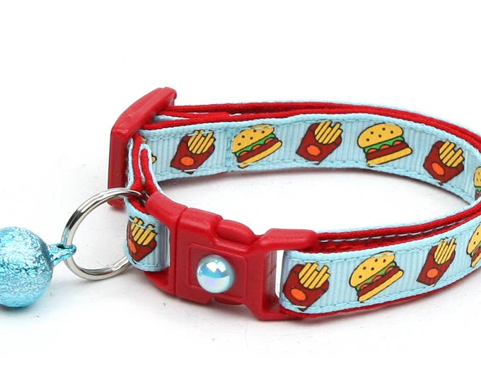 Cheeseburger Cat Collar - Burgers and Fries on Blue - Small Cat / Kitten Size or Large Size D22