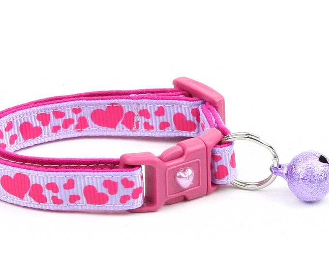 Heart Cat Collar - Pink Hearts on Purple - Small Cat / Kitten Size or  Large Size