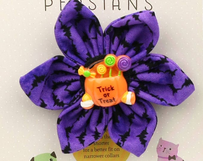 Halloween Dog Bow - Trick or Treat on Purple Bats - Flower - Collar Blossom - Medium Size