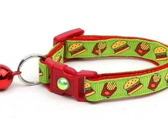 Cheeseburger Cat Collar - Burgers and Fries on Green- Small Cat / Kitten Size or Large Size D22