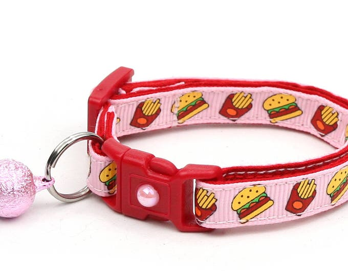 Cheeseburger Cat Collar - Burgers and Fries on Pink- Small Cat / Kitten Size or Large Size
