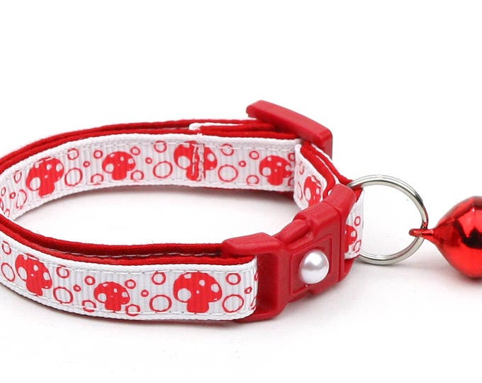 Mushroom Cat Collar - Red Mushrooms on White - Small Cat / Kitten Size or Large Size