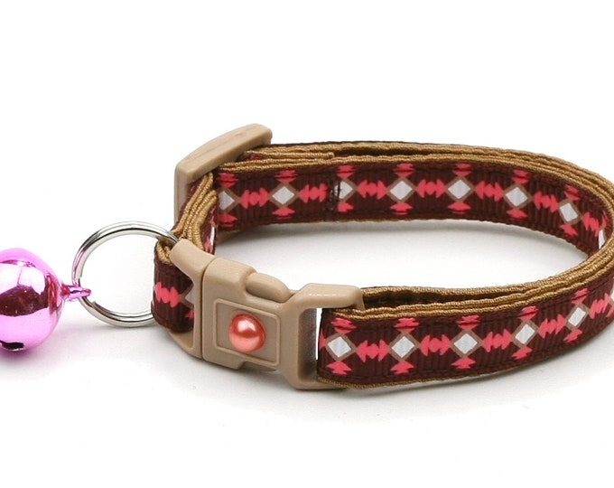 Tribal Cat Collar - Southwest Stripe on Brown - Small Cat / Kitten Size or Large Size