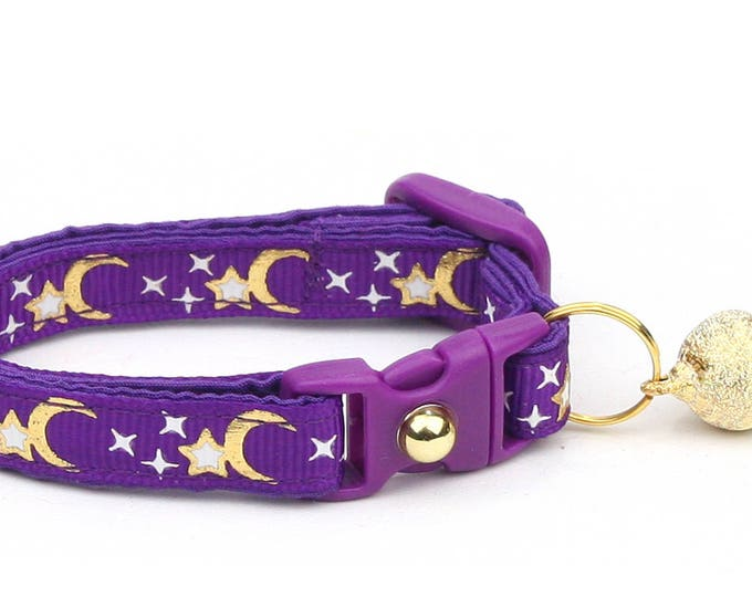 Moon Cat Collar - Gold Moons and Stars on Purple - Breakaway Cat Collar - Kitten or Large size - Glow in the Dark