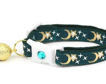 Moon Cat Collar - Gold Moons and Stars on Dark Teal - Breakaway Cat Collar - Kitten or Large size - Glow in the Dark
