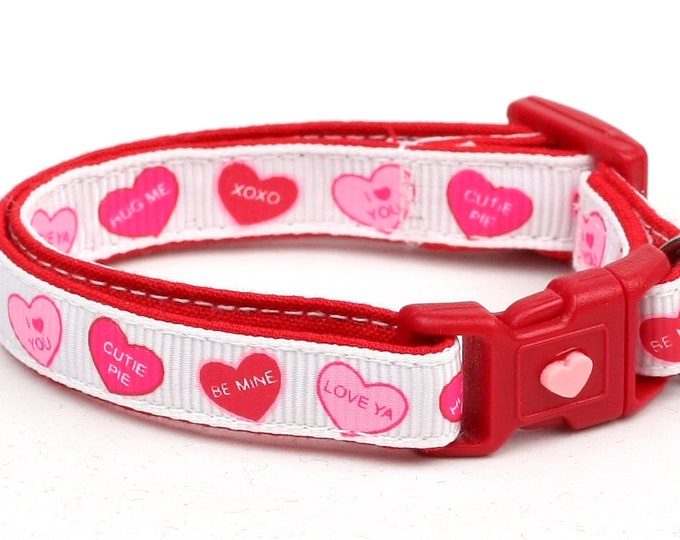 Valentines Day Cat Collar - Red Conversation Hearts - Small Cat / Kitten or Large Cat Collar