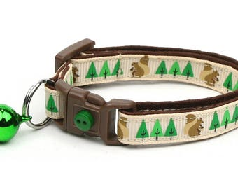 Woodland Cat Collar - Squirrels and Trees on Tan - Small Cat / Kitten Size or Large Size B110D159