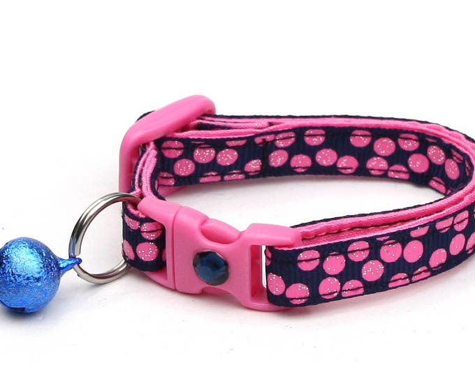 Polka Dot Cat Collar - Pink Dots on Navy Blue - Breakaway Cat Collar - Kitten or Large size