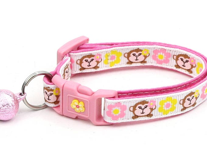 Monkey Cat Collar -Monkeys with Pink and Yellow Flowers - Kitten or Large Size