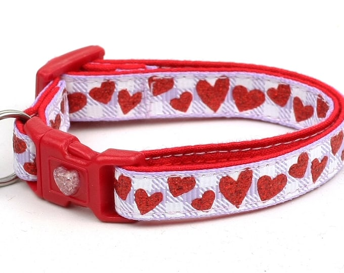 Valentines Day Cat Collar - Red Glitter Hearts on Lavender Gingham - Kitten or Large Size