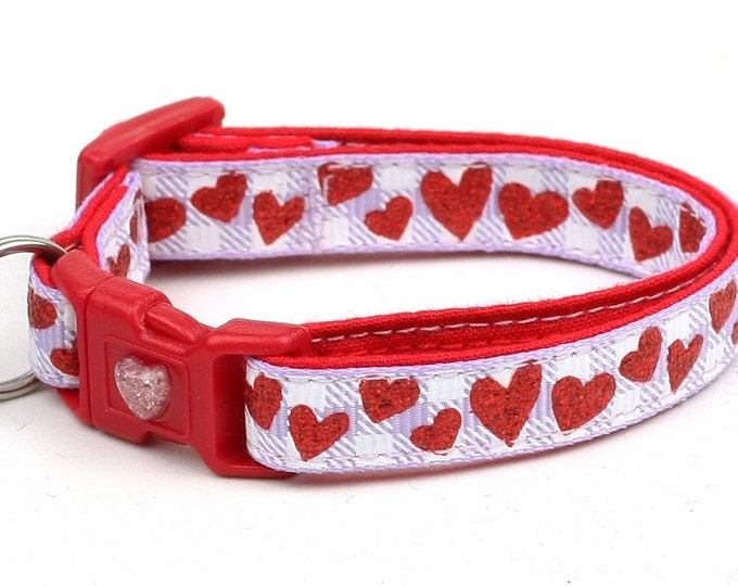 Valentines Day Cat Collar - Red Glitter Hearts on Lavender Gingham - Kitten or Large Size B67D72