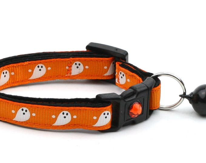 Halloween Cat Collar - Cute Ghosts on Orange - Breakaway Cat Collar - Kitten or Large size
