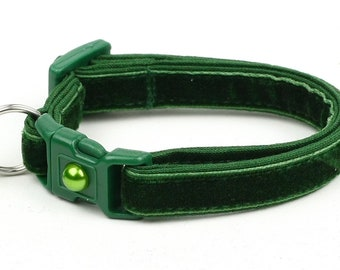 Soft Velvet Cat Collar - Emerald Green - Safety Breakaway - Kitten or Large Size