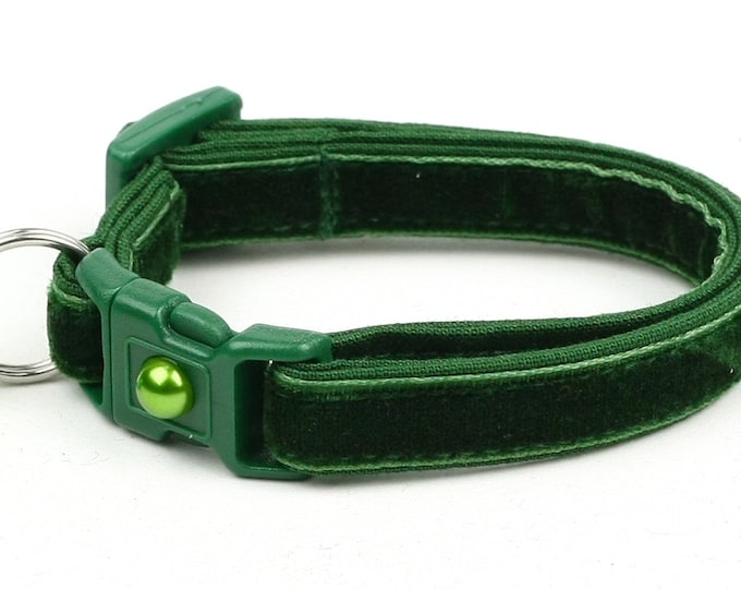 Soft Velvet Cat Collar - Emerald Green - Safety Breakaway - Kitten or Large Size B117