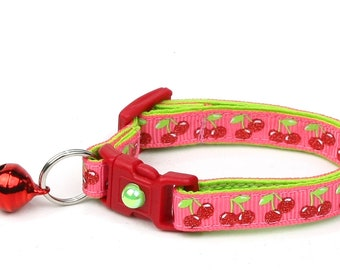 Cherry Cat Collar - Cherries on Pink - Safety Breakaway - Small Cat / Kitten Size or Large Size D19
