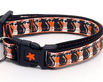 Halloween Cat Collar - Glittering Black Cats on Orange Plaid - Breakaway Cat Collar - Kitten or Large size B122D191