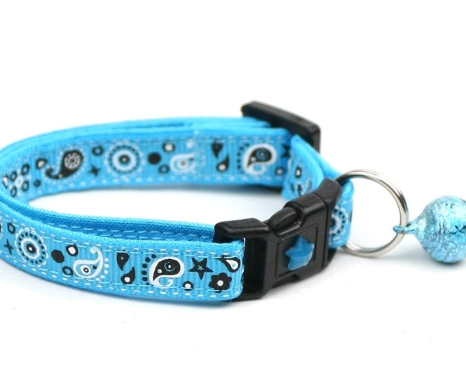Bandana Cat Collar - Light Blue Bandana Paisley - Safety Breakaway - Cowboy - Western
