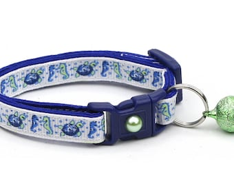 Tropical Cat Collar - Sea Turtles & Sea Horses - Kitten or Large Size - Nautical B103D143