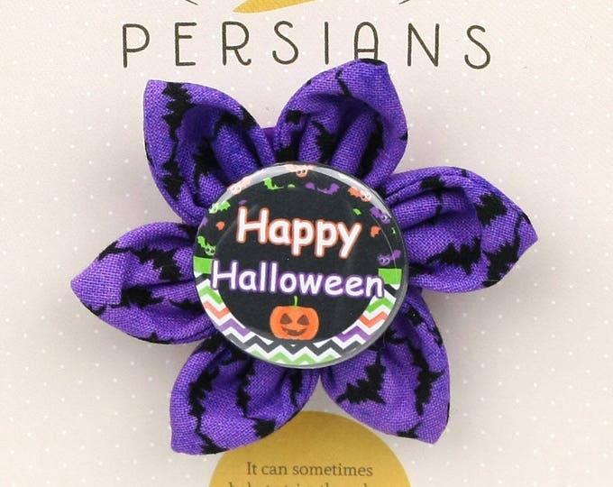 Halloween Dog Bow - happy Halloween on Purple Bats - Flower - Collar Blossom - Small Size