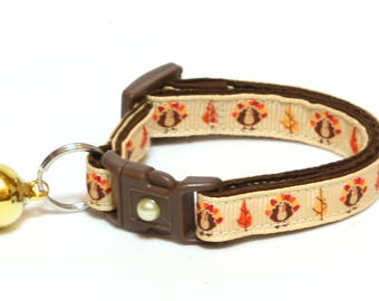 Thanksgiving Cat Collar - Thanksgiving Turkeys on Brown - Small Cat / Kitten Size or Large Size B14D101