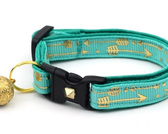 Arrow Cat Collar - Metallic Gold Arrows on Turquoise - Small Cat / Kitten Size or Large Size - Woodland - Boho - Teal B12D188