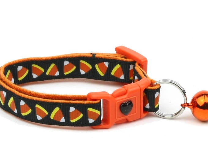 Halloween Cat Collar - Candy Corn on Black - Kitten or Large Size