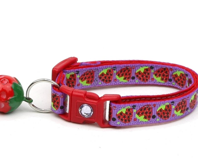 Strawberry Cat Collar - Strawberries on Purple - Small Cat / Kitten Size or Large Size